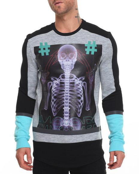 Hudson Nyc - Men Black,Grey Mood Crewneck Sweatshirt