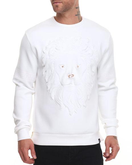 Hudson Nyc - Men White Embossed Lion Face Crewneck Sweatshirt