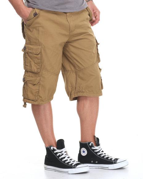 Buyers Picks - Men Khaki Heavey Garment Washed Belted Cargo Shorts