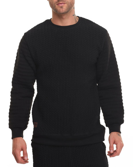 Buyers Picks - Men Black Pop Up Quilted Fleece Crew
