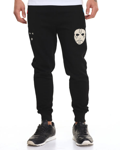 Bass By Ron Bass - Men Black Masks Chenille - Trim Fleece Joggers