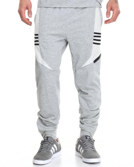 Hudson Nyc - Men Grey 4 Stripe Fleece Joggers
