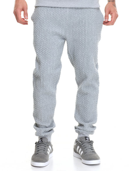 Buyers Picks - Men Grey Pop Up Quilted Fleece Jogger