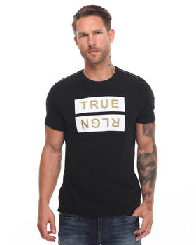 True Religion - Metallic Flock Gold Logo Tee