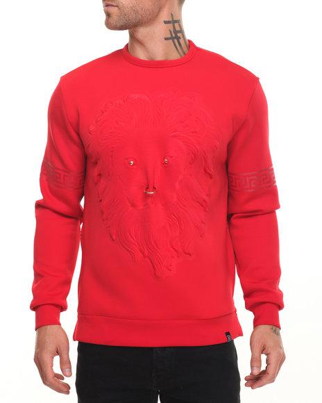 Hudson Nyc - Men Red Embossed Lion Face Crewneck Sweatshirt