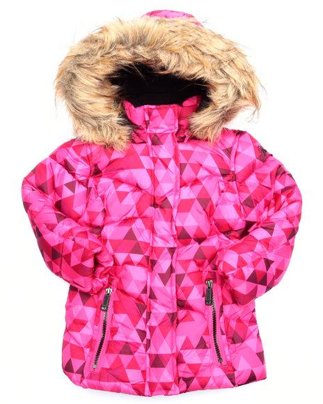 Weatherproof - Girls Pink Geo Print Bubble Jacket  (2T-4T)