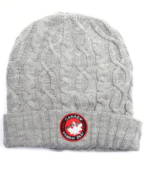 Buyers Picks Men Canada Weather Gear Cable Knit Cuffed Skullie Grey