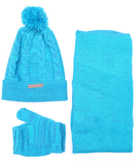 Weatherproof Girls 3 Pc Cable Knit Cold Weather Set (7-16) Blue