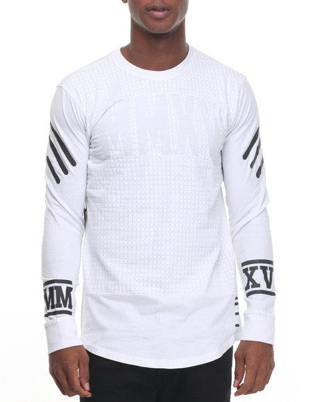 Buyers Picks - Men White L/S Mmxv Scalloped Side Zip Tee - $20.00