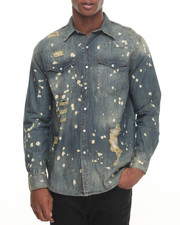 Shirts - Cobra Plattered Ripped Denim L/S Button-Down