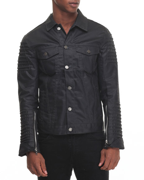 American Natives - Men Black Street Fighter Waxed Denim Moto Jacket - $150.00