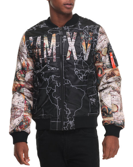 Buyers Picks - Men Black Globe Sublimation Bomber Jacket
