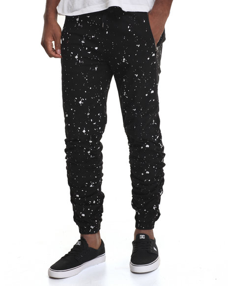 Buyers Picks - Men Black Shirred Leg Splatter Print Twill Jogger