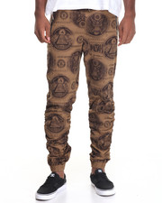 Jeans & Pants - Money Print Shirred Twill Jogger