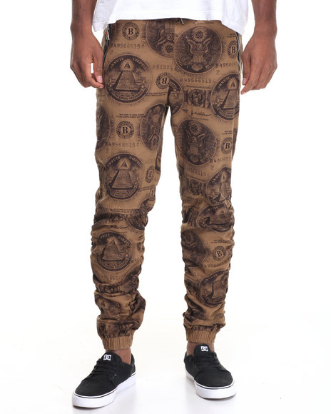 Buyers Picks - Men Tan Money Print Shirred Twill Jogger