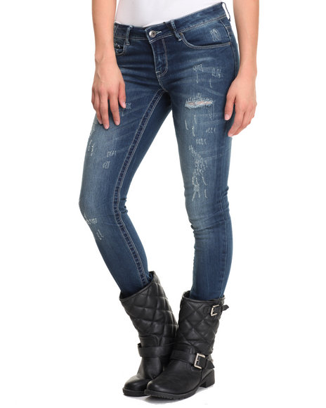 Fashion Lab - Women Vintage Wash Vintage Wash Distressed Skinny Jean Novelty Wash