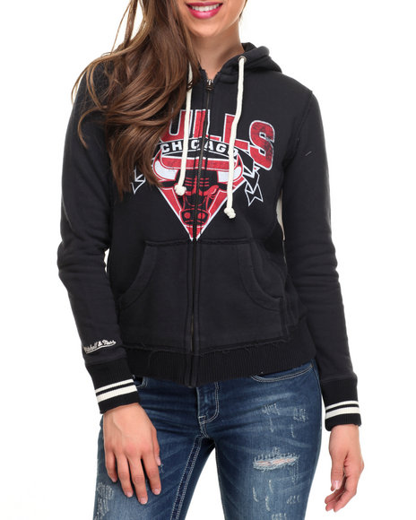 Mitchell & Ness - Women Black Chicago Bulls Hoodie