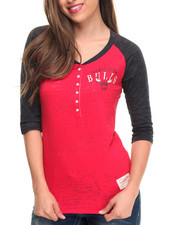 NBA MLB NFL Gear - Chicago Bulls 3/4 Sleeve Henley