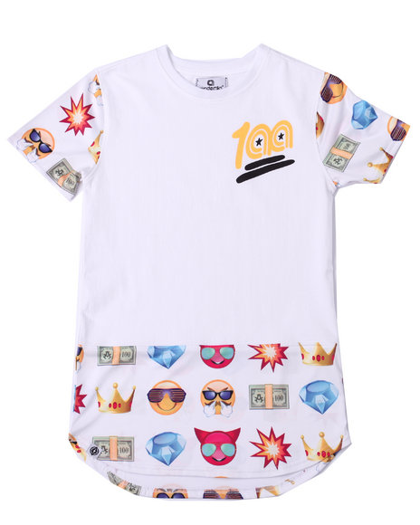 Akademiks - Boys White Elongated Emoji Tee (8-20) - $20.99