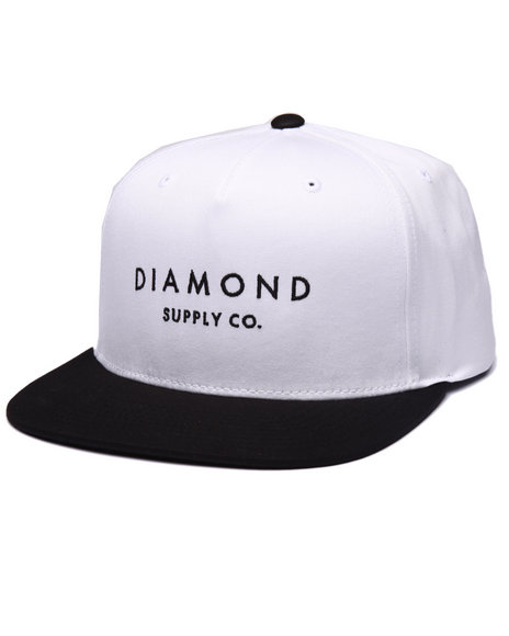 Diamond Supply Co Men Stone Cut Snapback Cap White