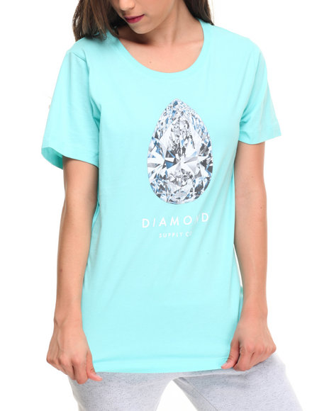 Diamond Supply Co Women 101 Carats Tee Teal Large