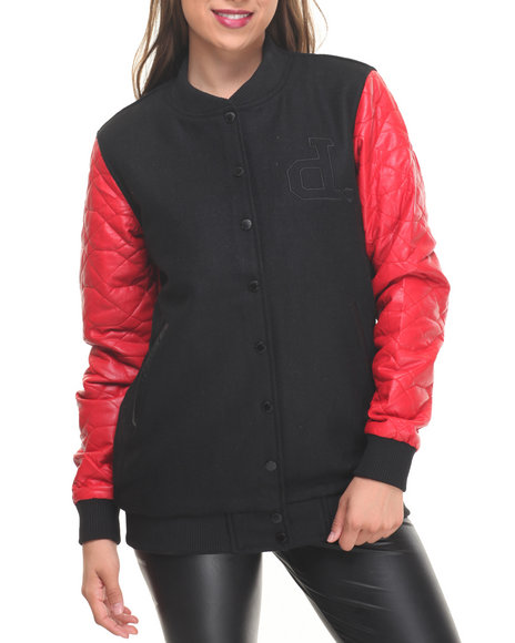 Diamond Supply Co - Women Red Diamond Life Varsity Jacket