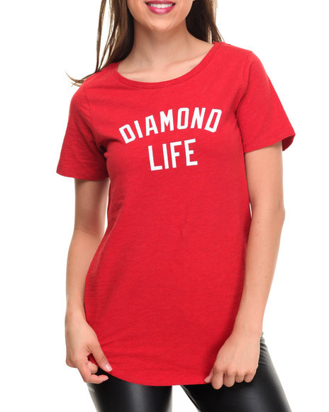 Diamond Supply Co - Women Red Diamond Life Scallop Tee