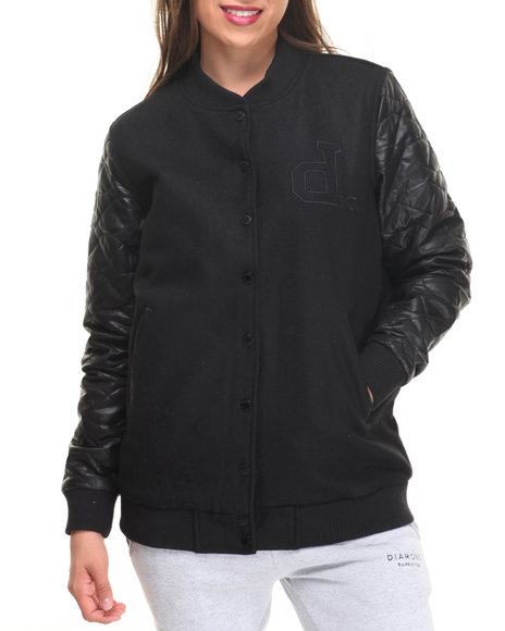 Diamond Supply Co - Women Black Diamond Life Varsity Jacket