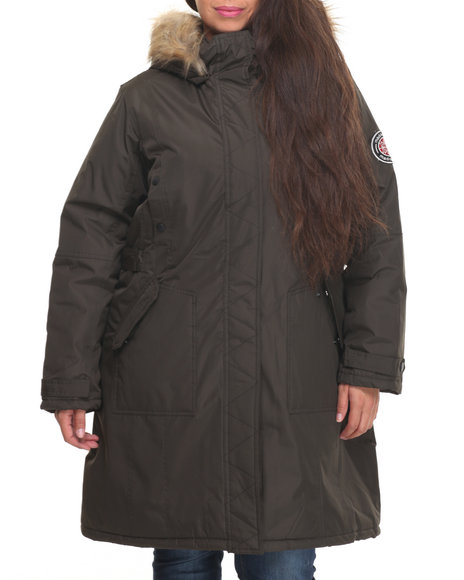 """Madden Girl - Women Olive Nylon 36"""" Cold Weather Heavy Parka (Plus Size) W/Arm Patch (Plus)"""