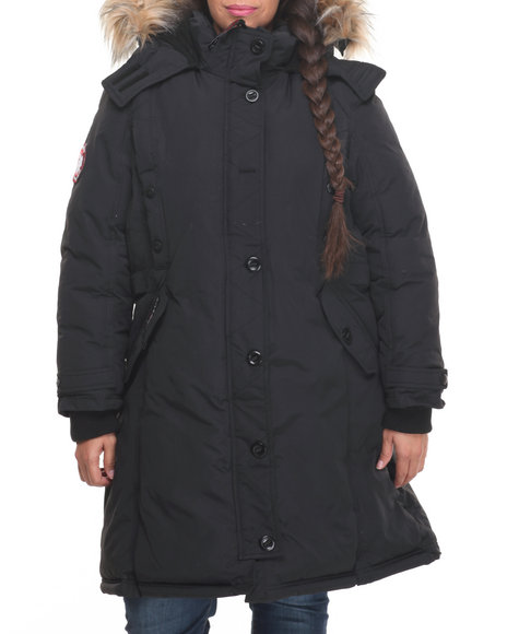 Fashion Lab Women Hooded 2 Way Zipper Parka (Plus) Black 1X