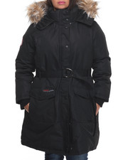 Outerwear - Weather Gear Belted Cargo Pocket Long Parka (Plus)