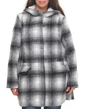 Women - Faux Wool Zip Parka Hooded Faux Fur Coat (plus)