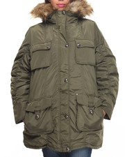 "Outerwear - Nylon 36"" Cold Weather Heavy Parka (Plus size) w/Arm Patch (plus)"