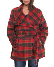 Women - Faux Wool Belted Wrap Coat (Plus)