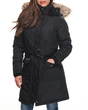 Women - Belted Cargo Pockets Long Parka