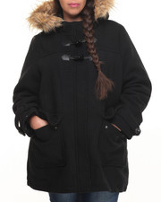 Heavy Coats - Faux Wool Heavy Toggle Hood Faux Fur Trim Coat (Plus)