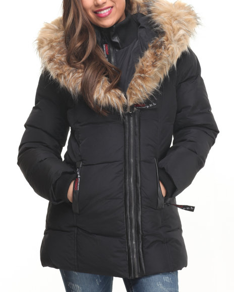 Fashion Lab - Women Black Turtleneck 2 Way Zipper Bubble Jacket