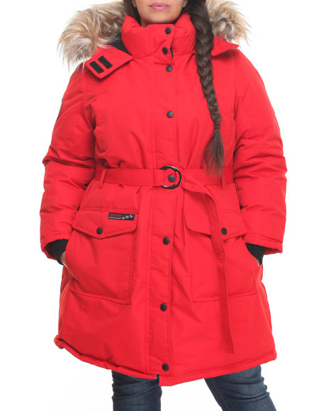 Fashion Lab - Women Red Belted Cargo Pockets Long Parka (Plus) - $67.99