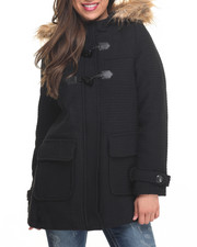Heavy Coats - Faux Wool Heavy Toggle Hood Faux Fur Trim Coat