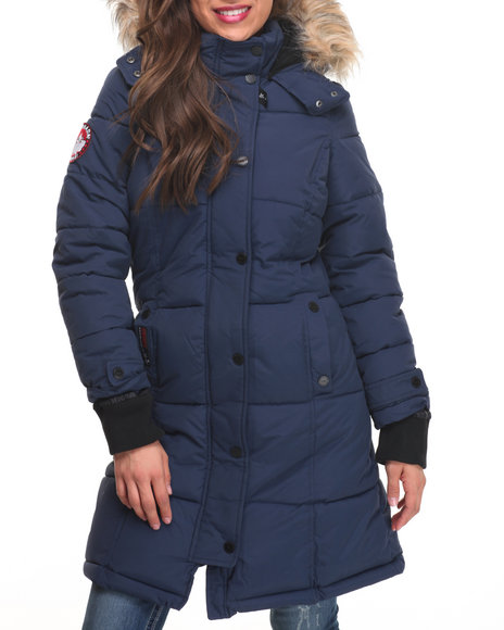 Fashion Lab Women Hooded  Storm Cuff Parka Navy Medium