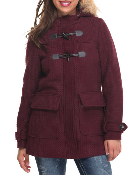 Madden Girl - Women Purple Faux Wool Heavy Toggle Hood Faux Fur Trim Coat