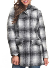 "Women - Faux Wool 31"" Zip Parka Hooded Fur Coat"
