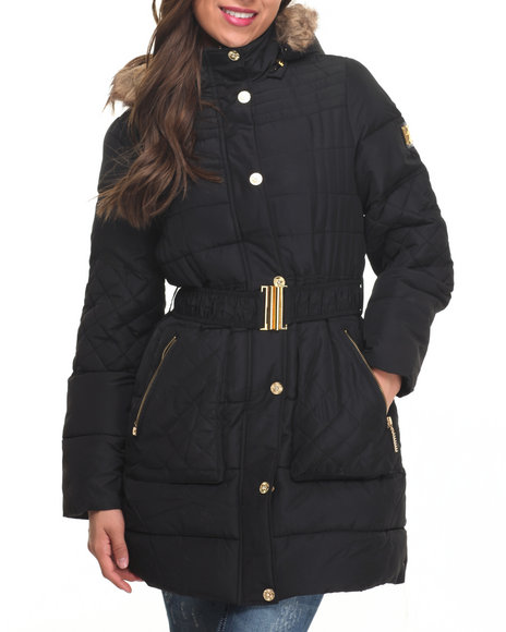 Rocawear Women Belted Knee Length Puffer Coat Black Small