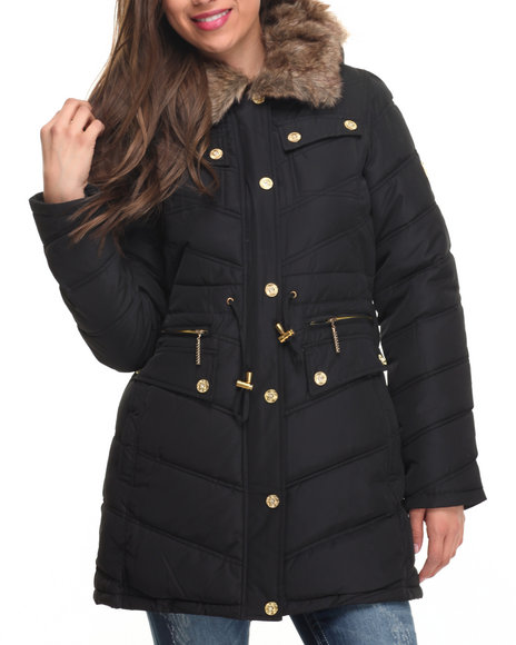 Rocawear Women Cinch Waist Diamond Quilted Puffer Coat Black Small