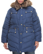 Women - Cinch Waist Diamond Quilted Puffer Coat (Plus)