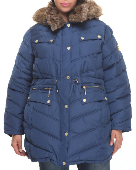 Rocawear Women Cinch Waist Diamond Quilted Puffer Coat (Plus) Blue 1X