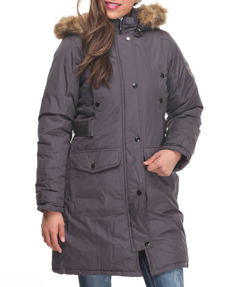 Rocawear Women Goose Puffer Knee Length Hooded Coat Charcoal Medium