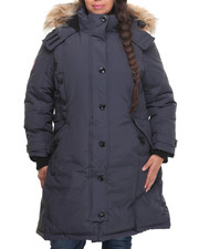 Outerwear - Hooded 2 Way Zipper Parka (Plus)