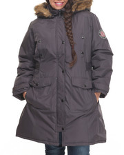 Women - Goose Puffer Knee Length Hooded Coat (Plus)