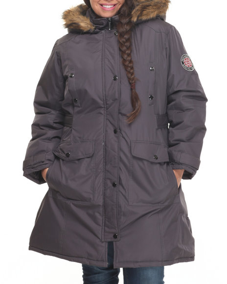 Rocawear - Women Charcoal Goose Puffer Knee Length Hooded Coat (Plus)
